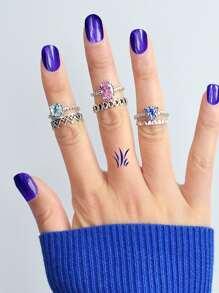 Diamond Blue Powder Gem Set Of 6 Rings