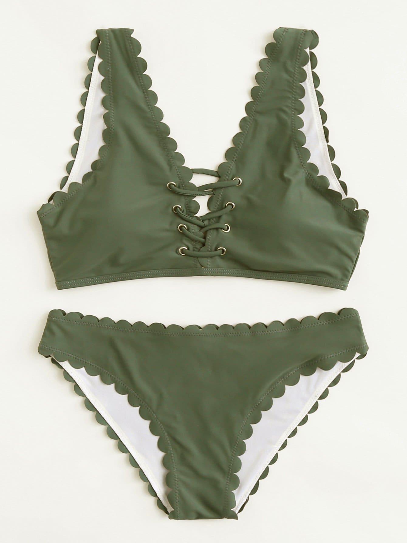 Criss Cross Front Scallop Bikini Set criss cross bikini set