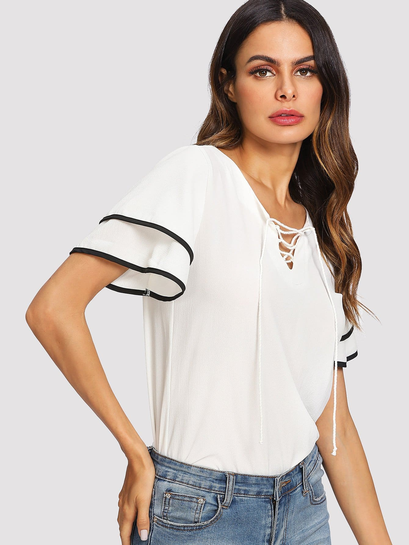 Lace Up Front Flare Sleeve Blouse lace up front flare sleeve blouse