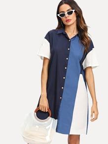 Block Stripe Shirt Dress