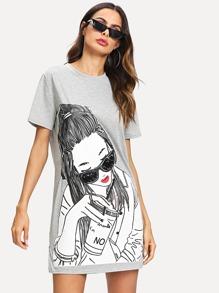 Girl Print Tee Dress