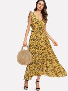Leaf Print Self Tie Drawstring Dress