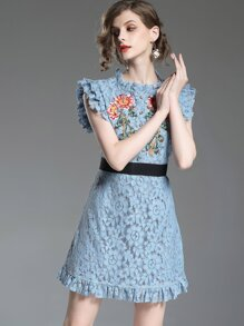 Floral Embroidered Ruffle Lace Dress