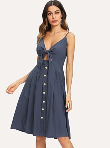 Self Tie Button Front Cami Dress