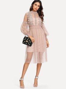 Lace Crochet Contrast Mesh Dress With Cami Dress