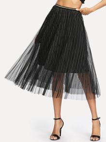 See Through Stripe Mesh Skirt