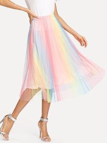 Rainbow Print Mesh Skirt