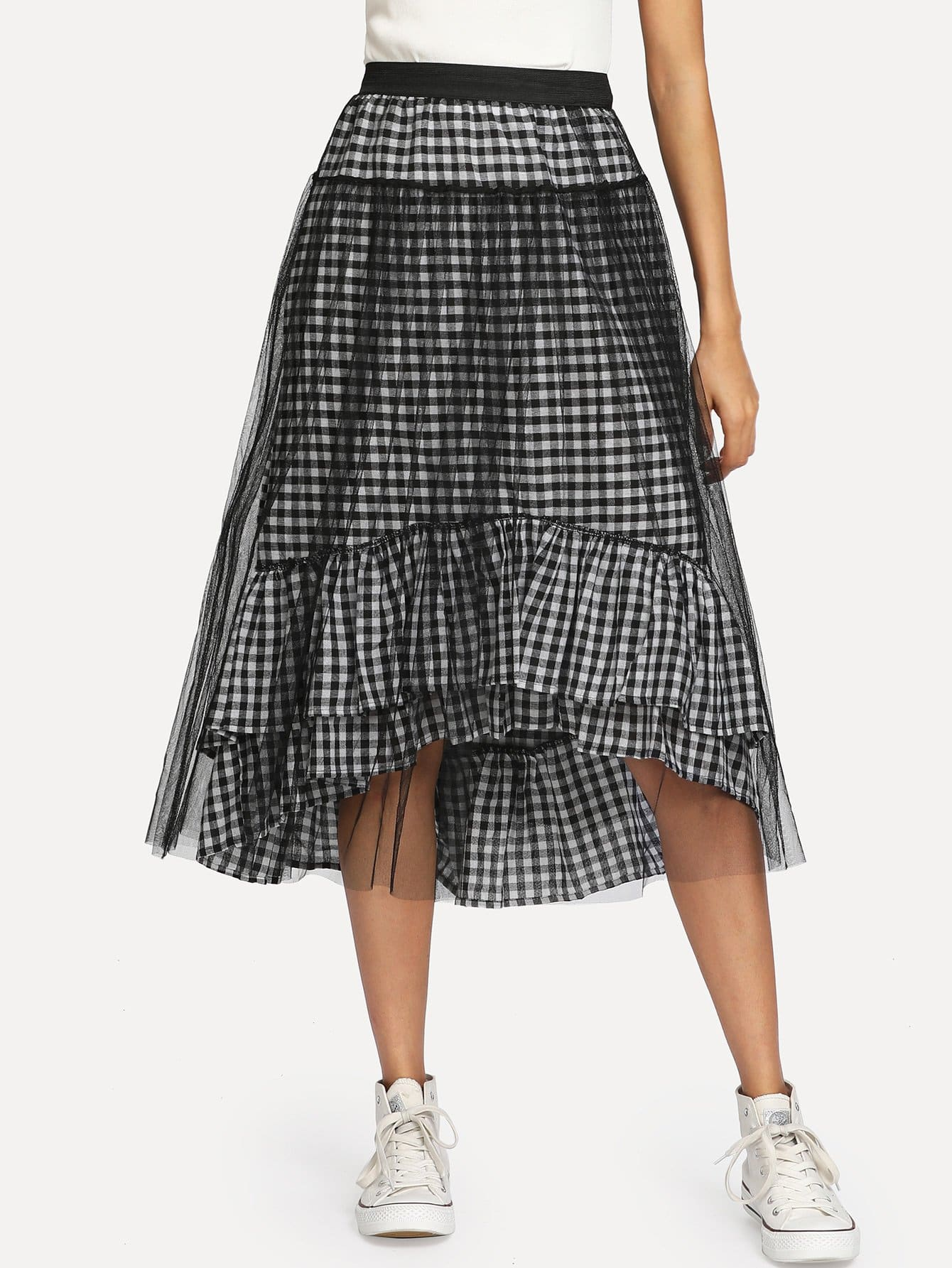 Ruffle Hem Gingham Contrast Mesh Skirt ruffle hem button detail gingham skirt
