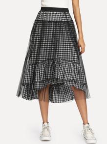 Ruffle Hem Gingham Contrast Mesh Skirt