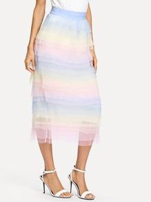 Tiered Layer Mesh Skirt