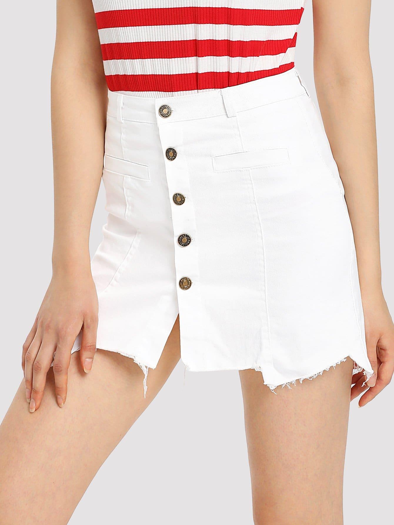 Купить Ассиметричная юбка деним с пуговицами и необработанными краями, Karina S, SheIn