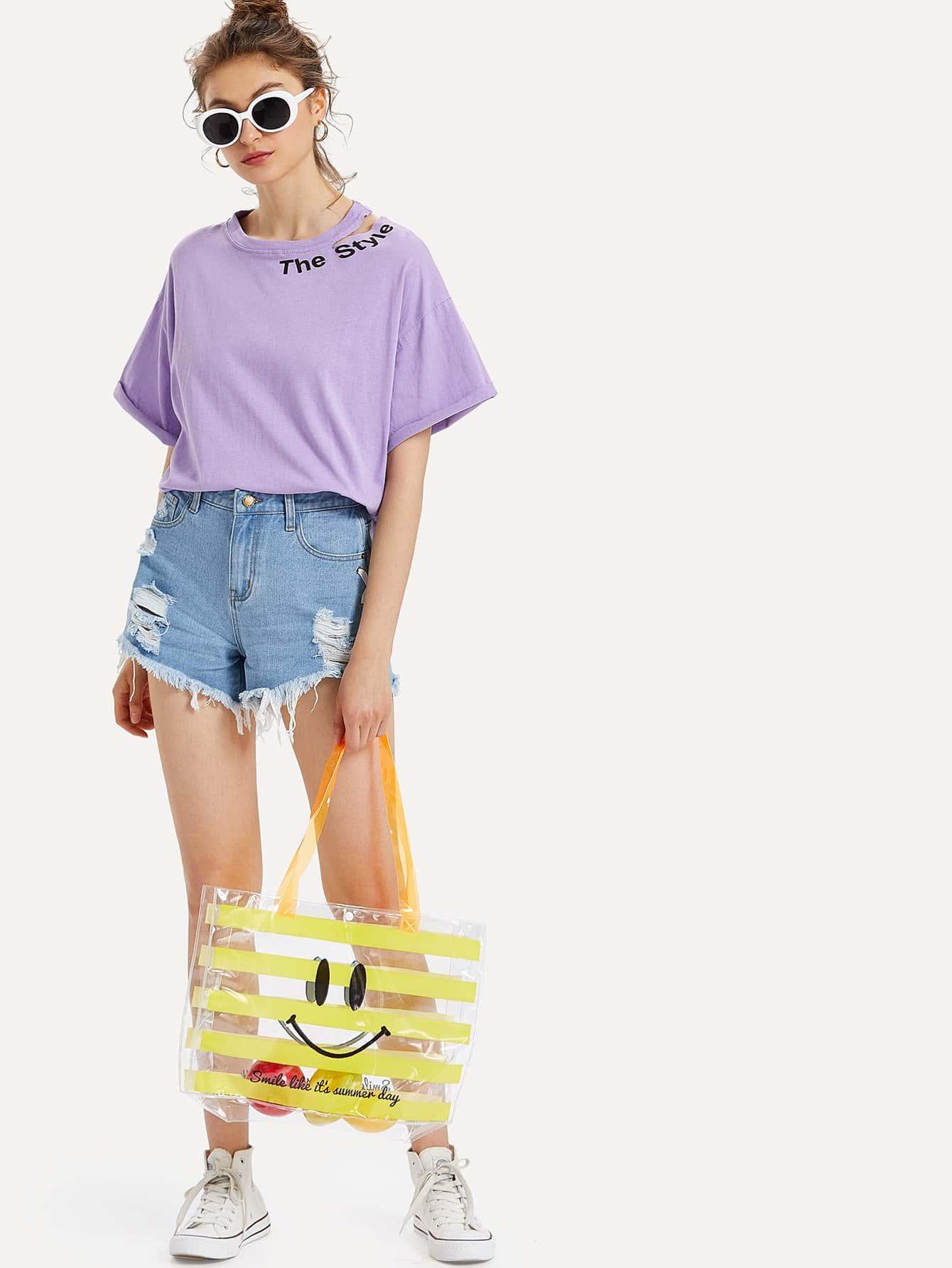 Emoji Print Striped Tote Bag heel print tote bag