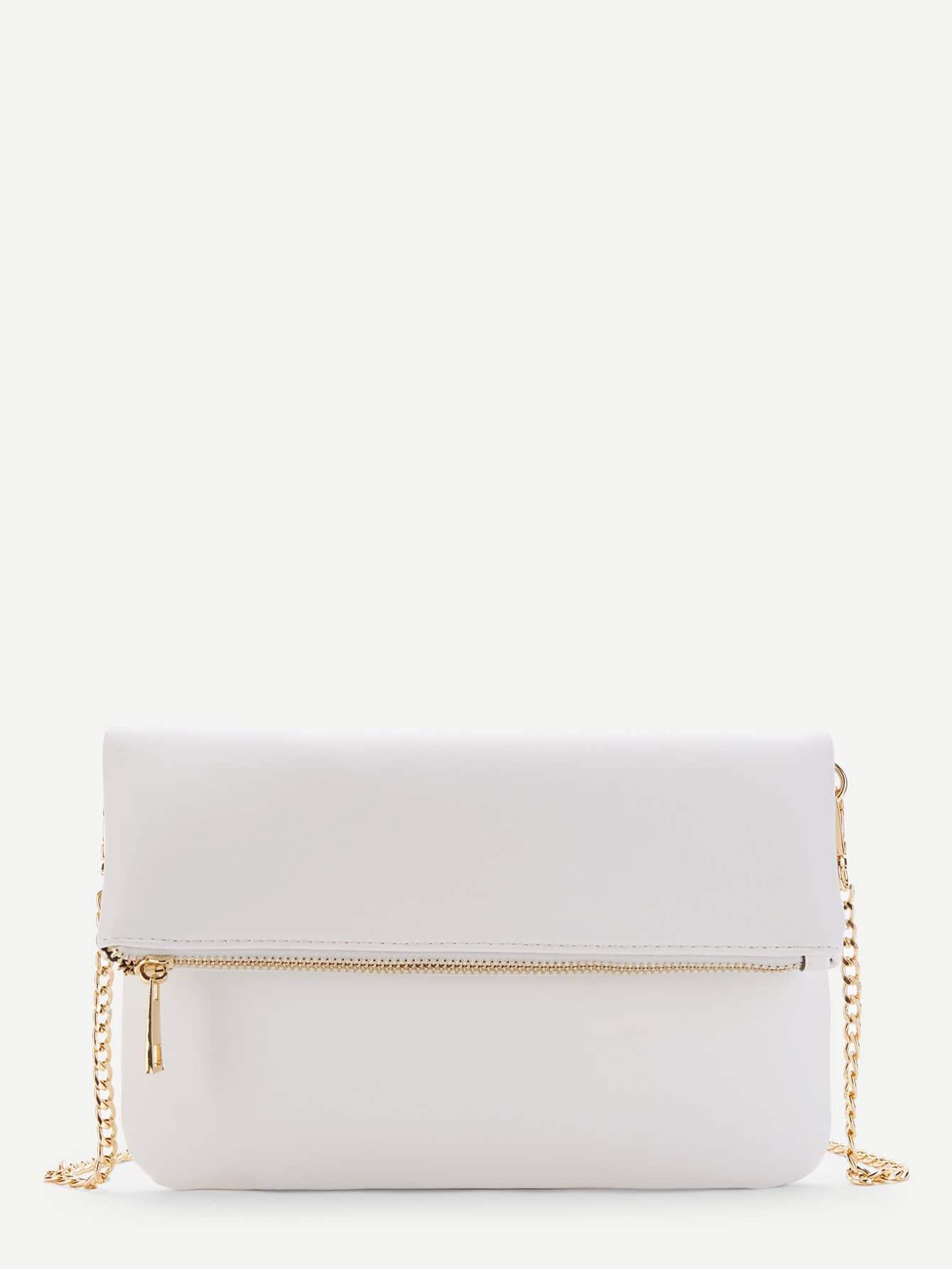 Zipper Front Flap Chain Bag heart decor zipper front backpacks bag
