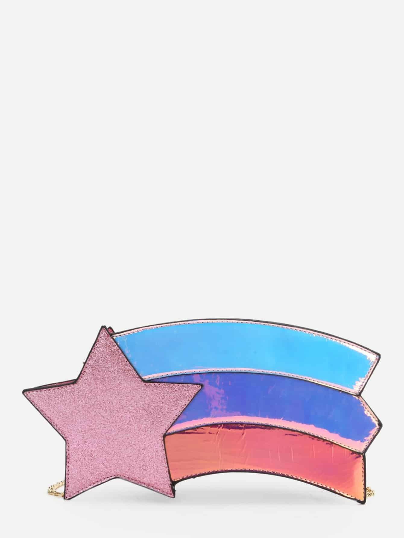 Star Detail Color Block Chain Bag star detail visor