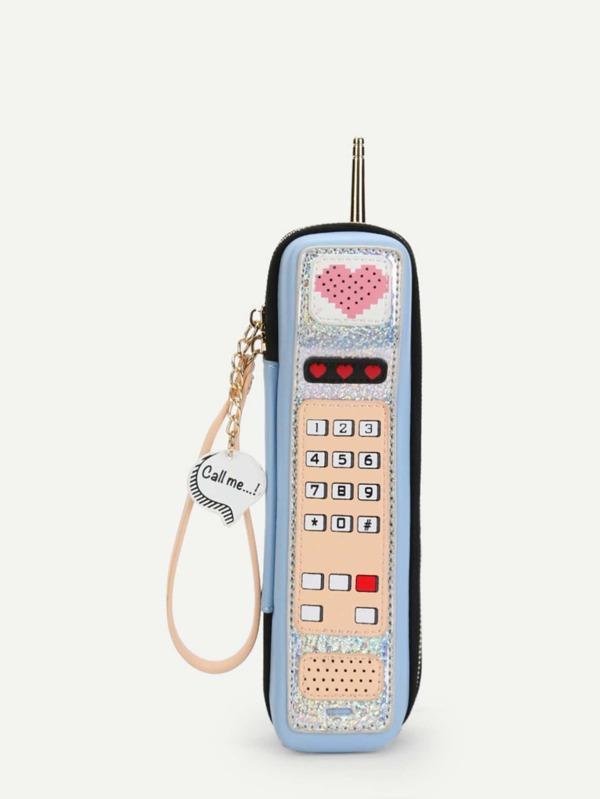 Heart Pattern Phone Shaped Clutch Bag by Sheinside
