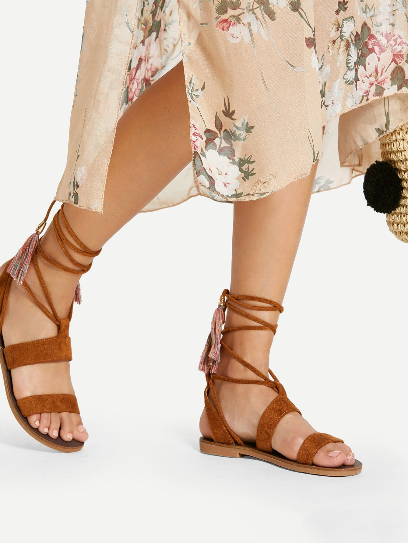Tassel Tie Peep Toe Flat Sandals xda 2018 new summer sandals women flat shoes bandage bohemia leisure lady casual sandals peep toe outdoor fashion sandals f171