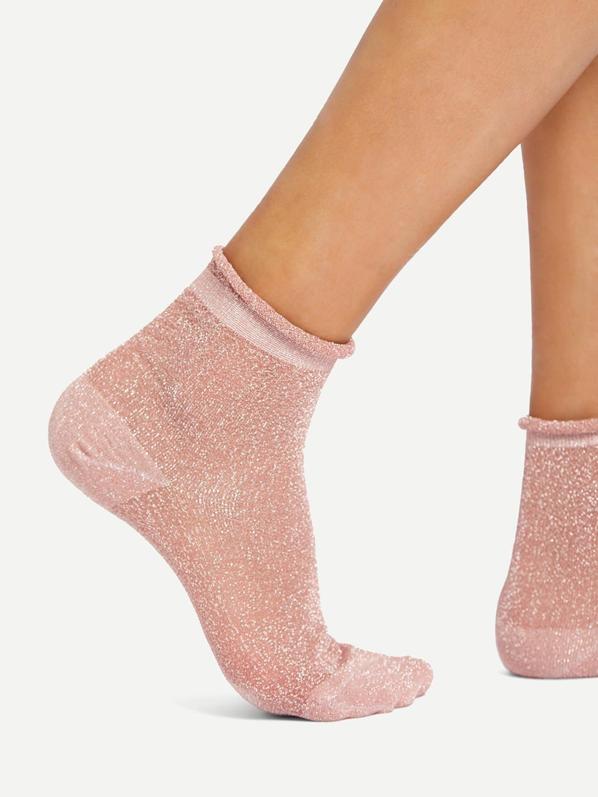 Glitter Design Rolled Ankle Socks by Romwe