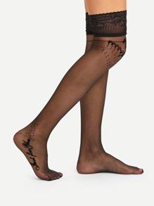 Embroidered Detail Over Knee Socks