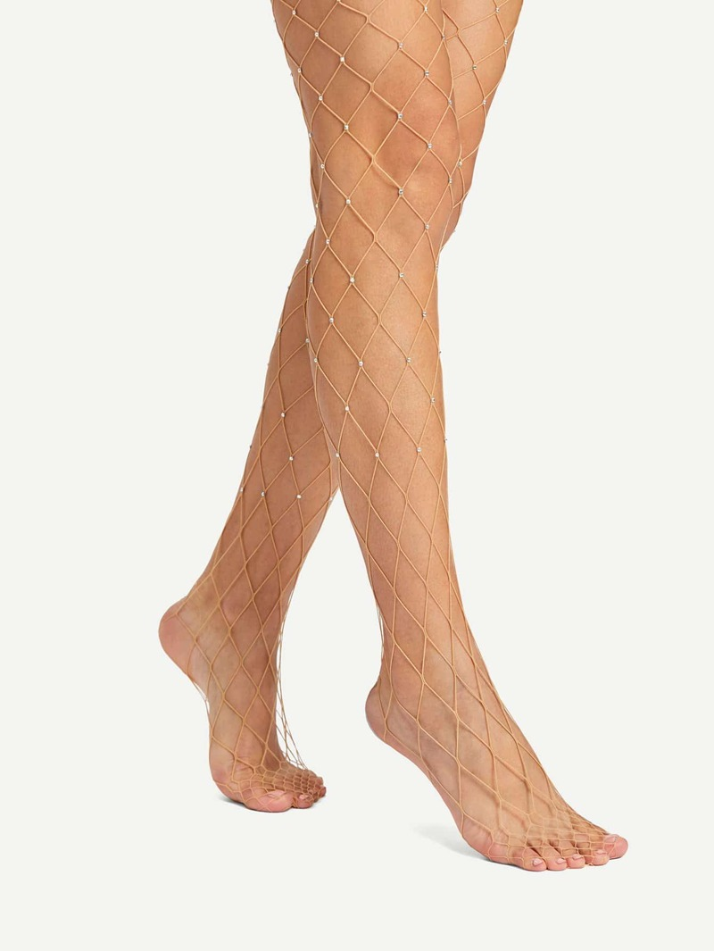 Rhinestones Mesh Design Pantyhose Stockings, Nude