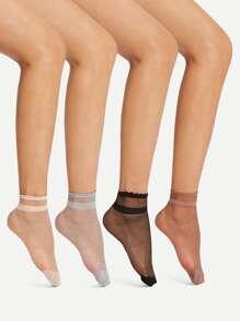 Frill Trim Ankle Socks 4Pairs