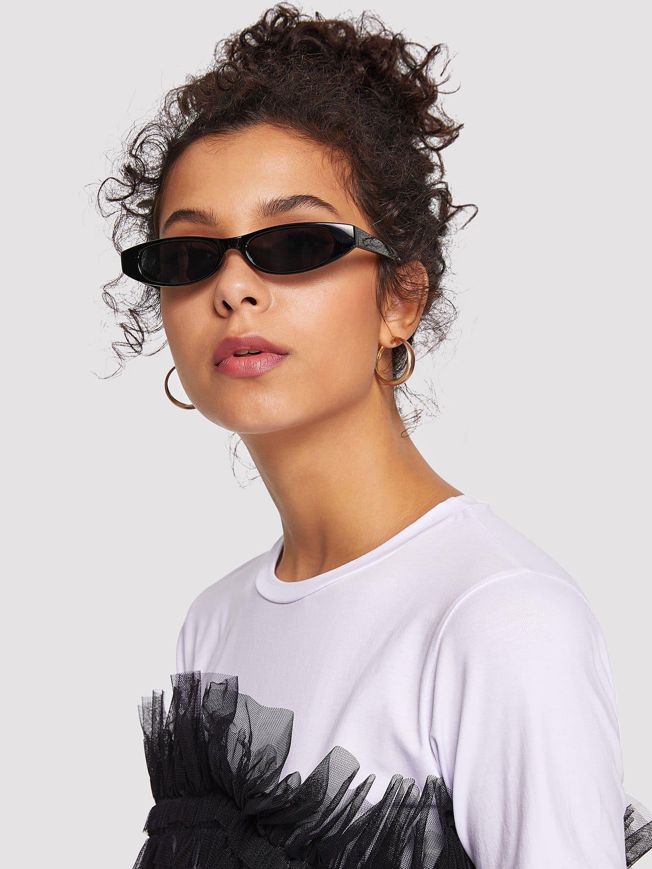 Plain Frame Mirror Lens Sunglasses