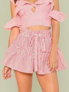 Stripe Ruffle Shorts