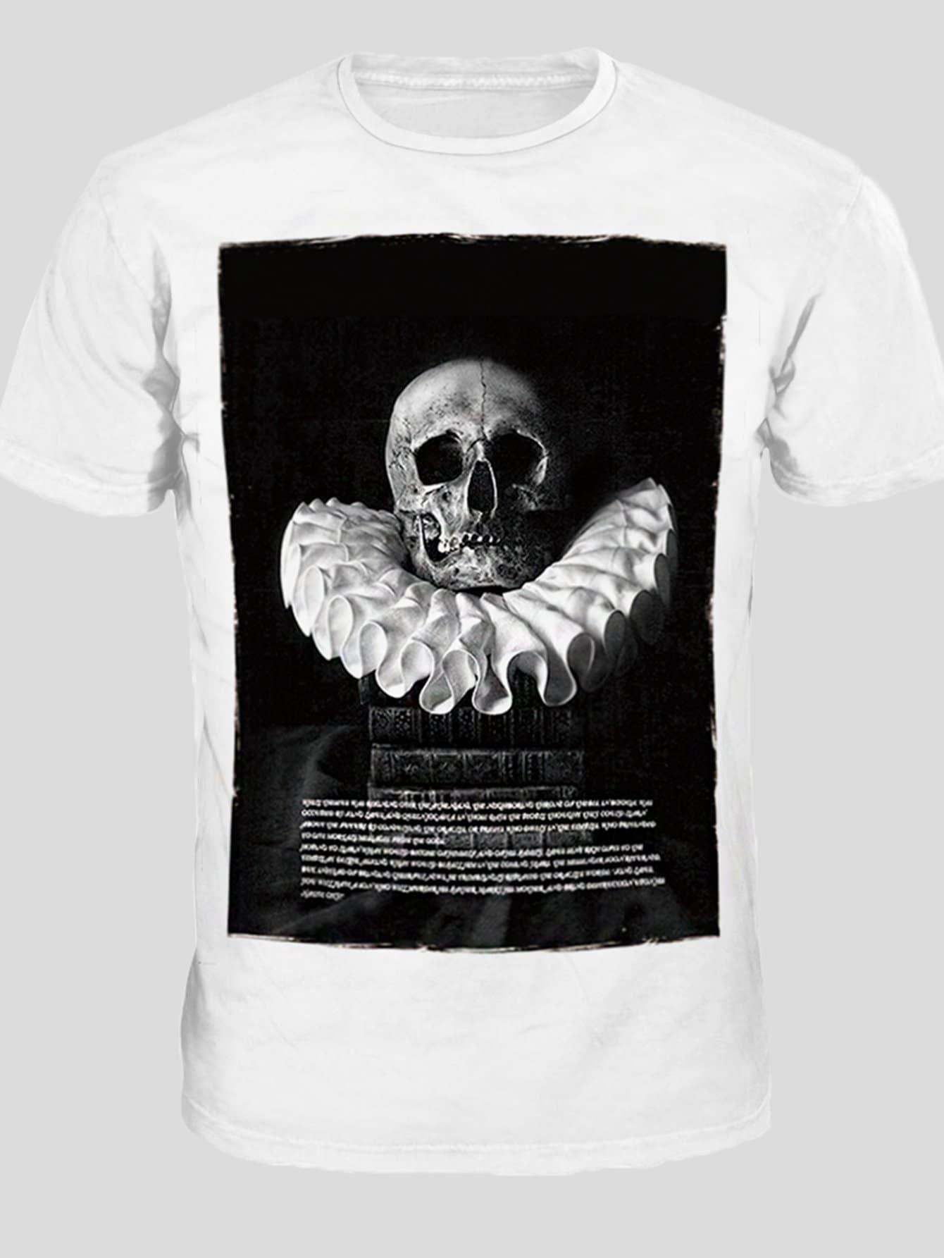 Men Letter And Skull Print Tee
