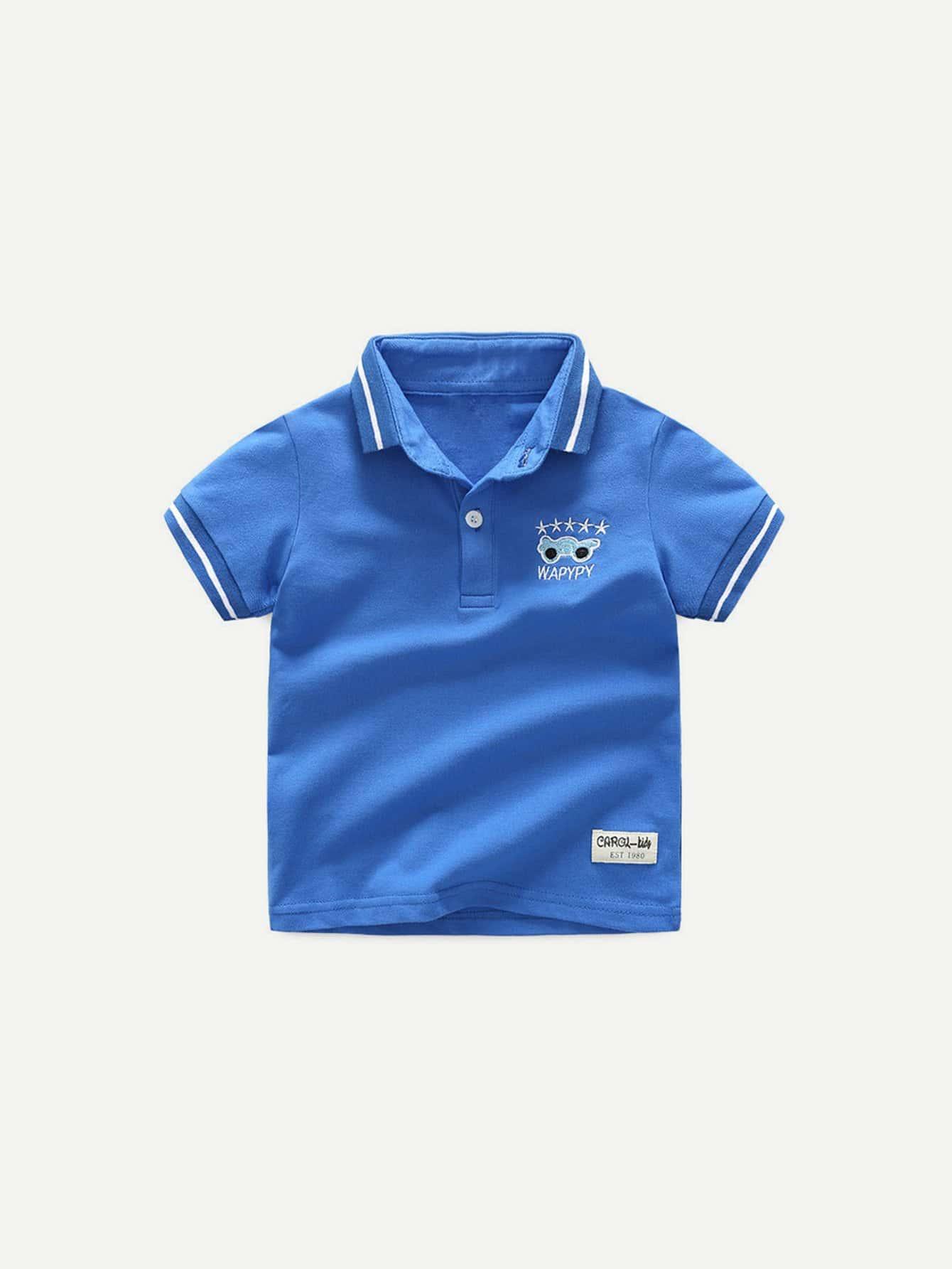 Kids Letter Print Patched Ringer Polo Shirt letter print ringer t shirt
