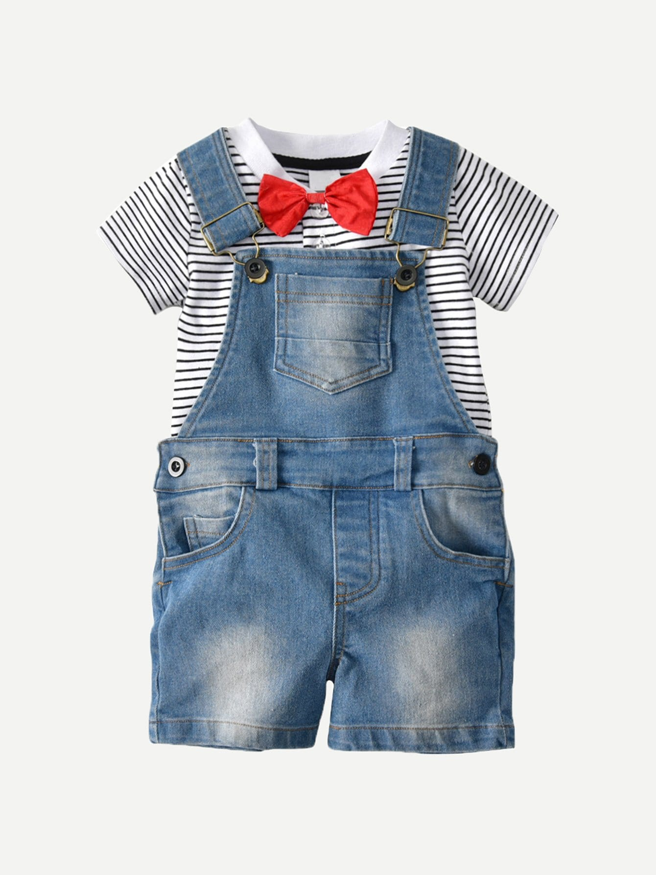 Kids Tie Detail Striped Tee With Denim Overalls 2017 new spring autumn kids baby girls denim jeans pants infant denim girls overalls jumpsuit lovely jeans overalls teenagers
