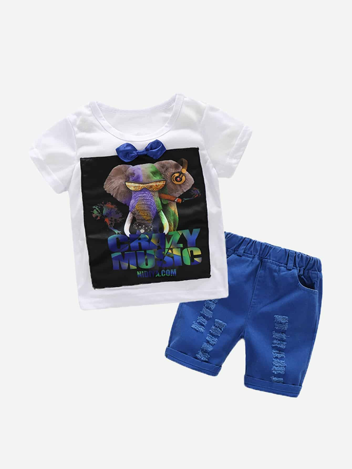 Kids Elephant And Letter Print Tee With Destroyed Shorts dinosaur print tee with shorts