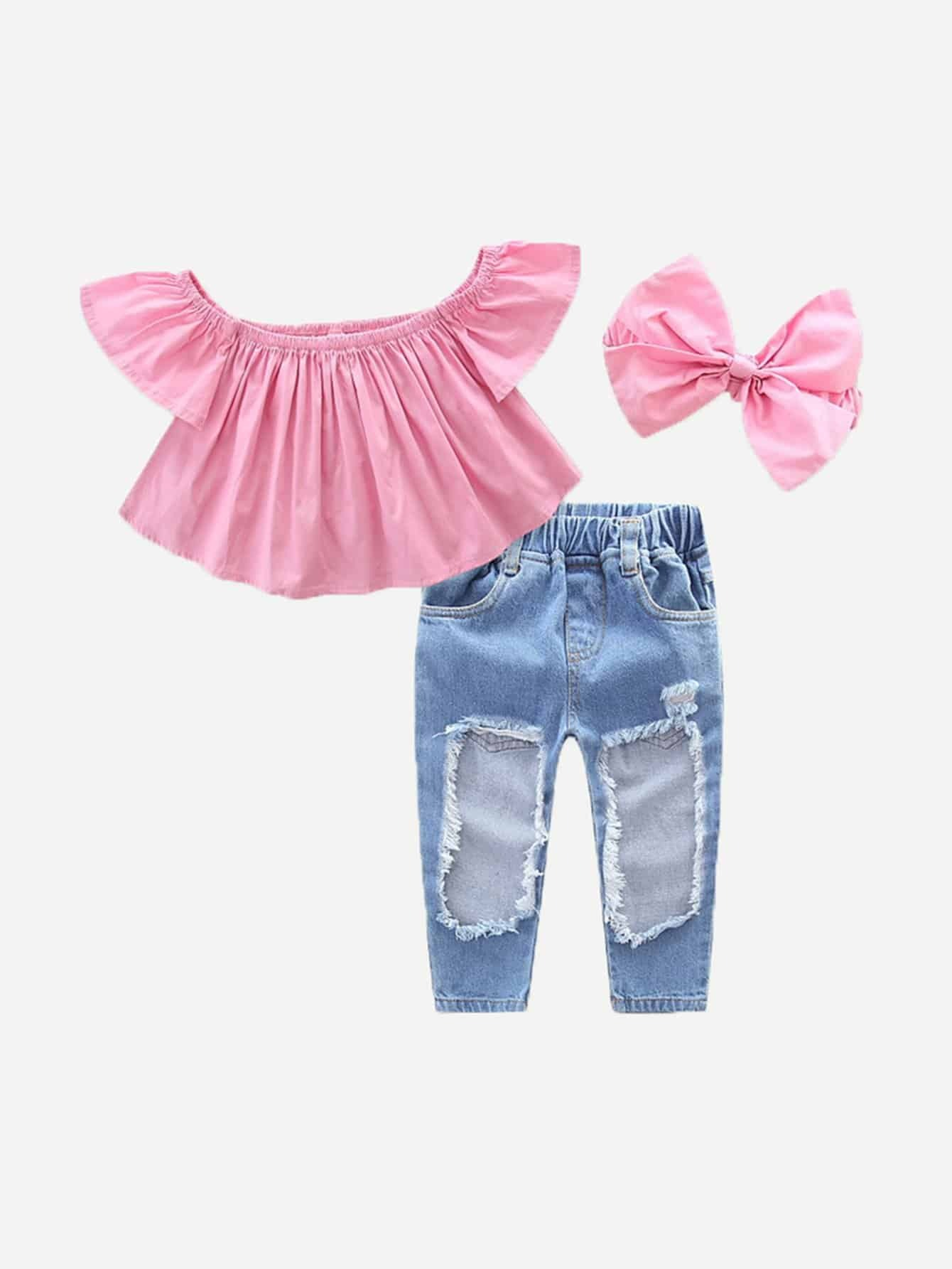 Kids Tube Top With Destroyed Denim Pants ибп uniel u iups 1500uc