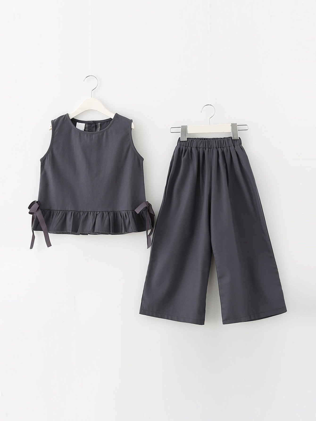 Купить Топ с оборками и широкие брюки для детей, null, SheIn
