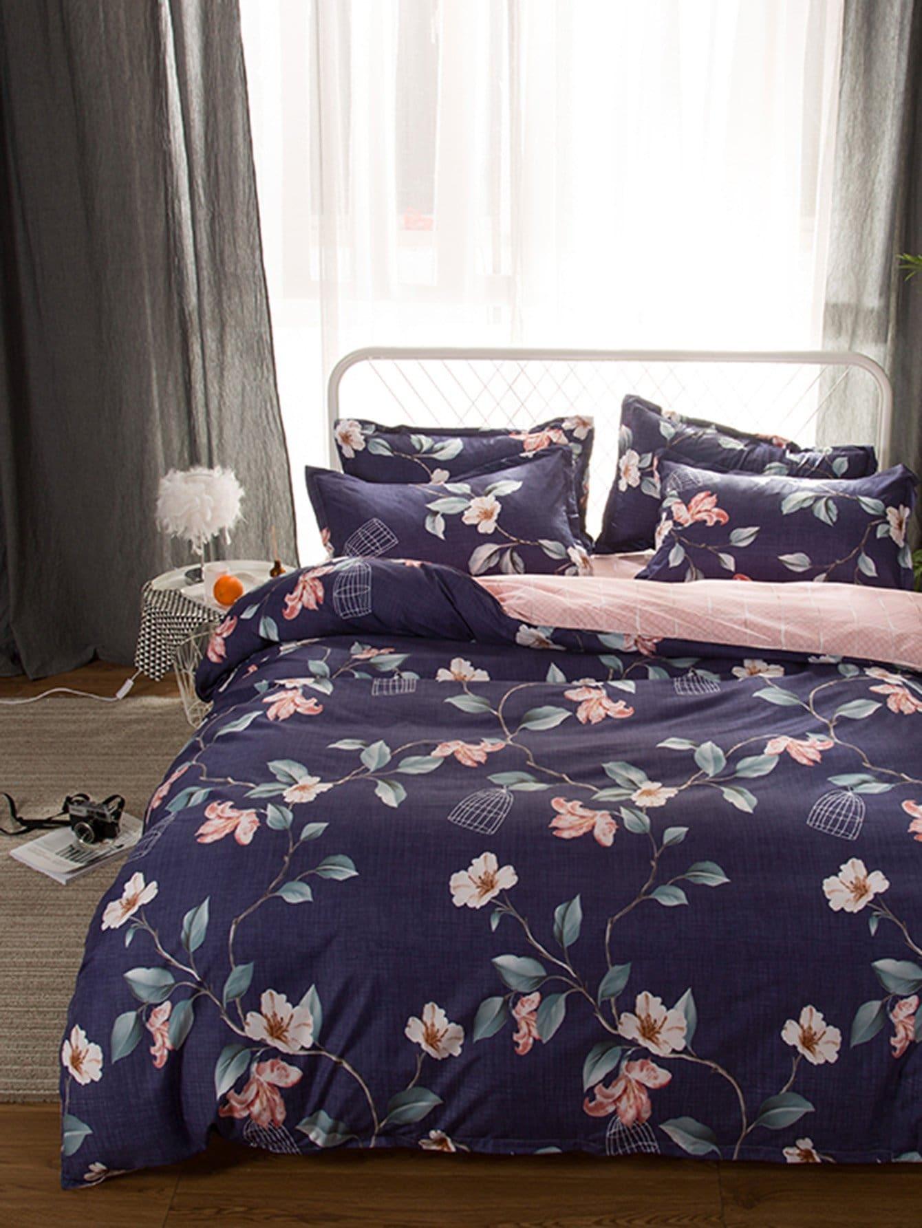 Со цветочками Комплект постельного белья Тёмно-синие Постельное белье