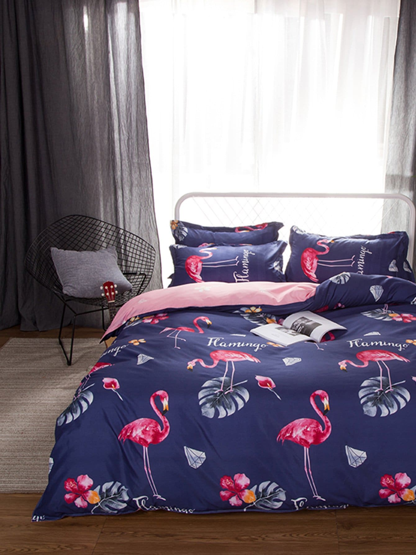 Животный принт Комплект постельного белья Тёмно-синие Постельное белье