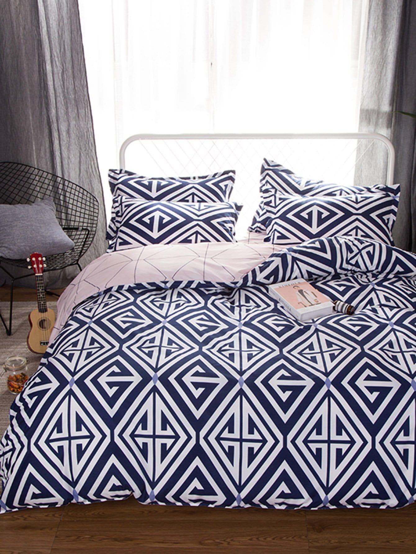 Геометрический принт Комплект постельного белья Многоцветный Постельное белье
