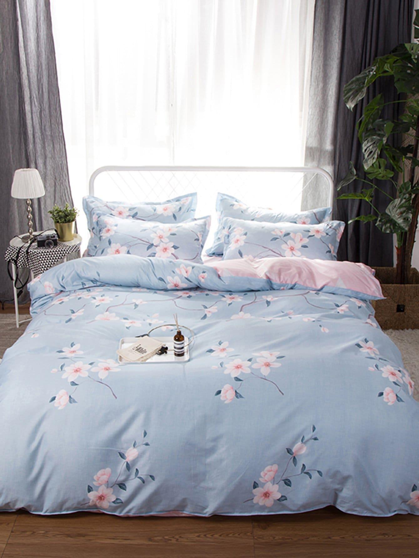 Со цветочками Комплект постельного белья Синий Постельное белье