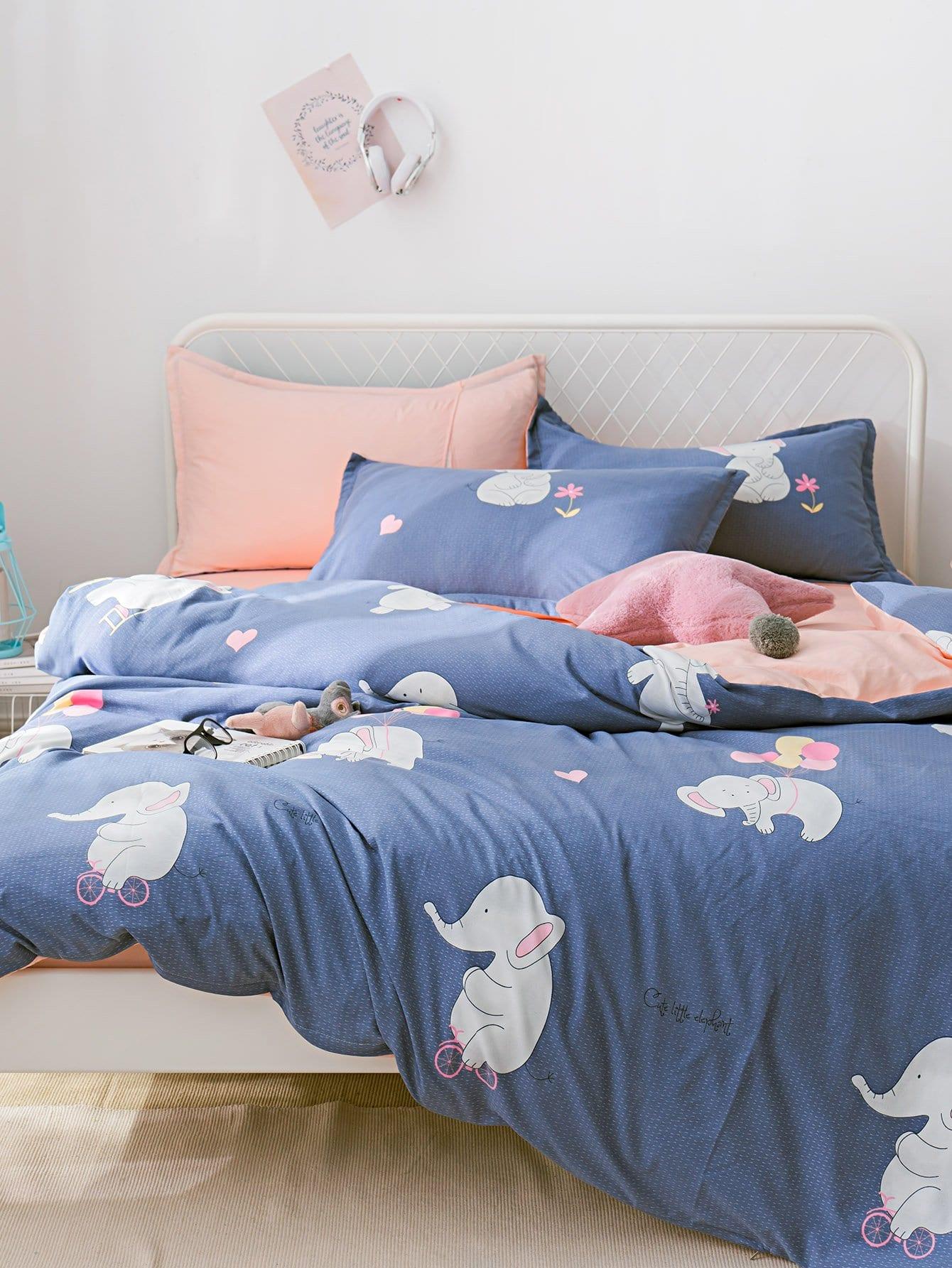 Мультяшный принт Комплект постельного белья Синий Постельное белье