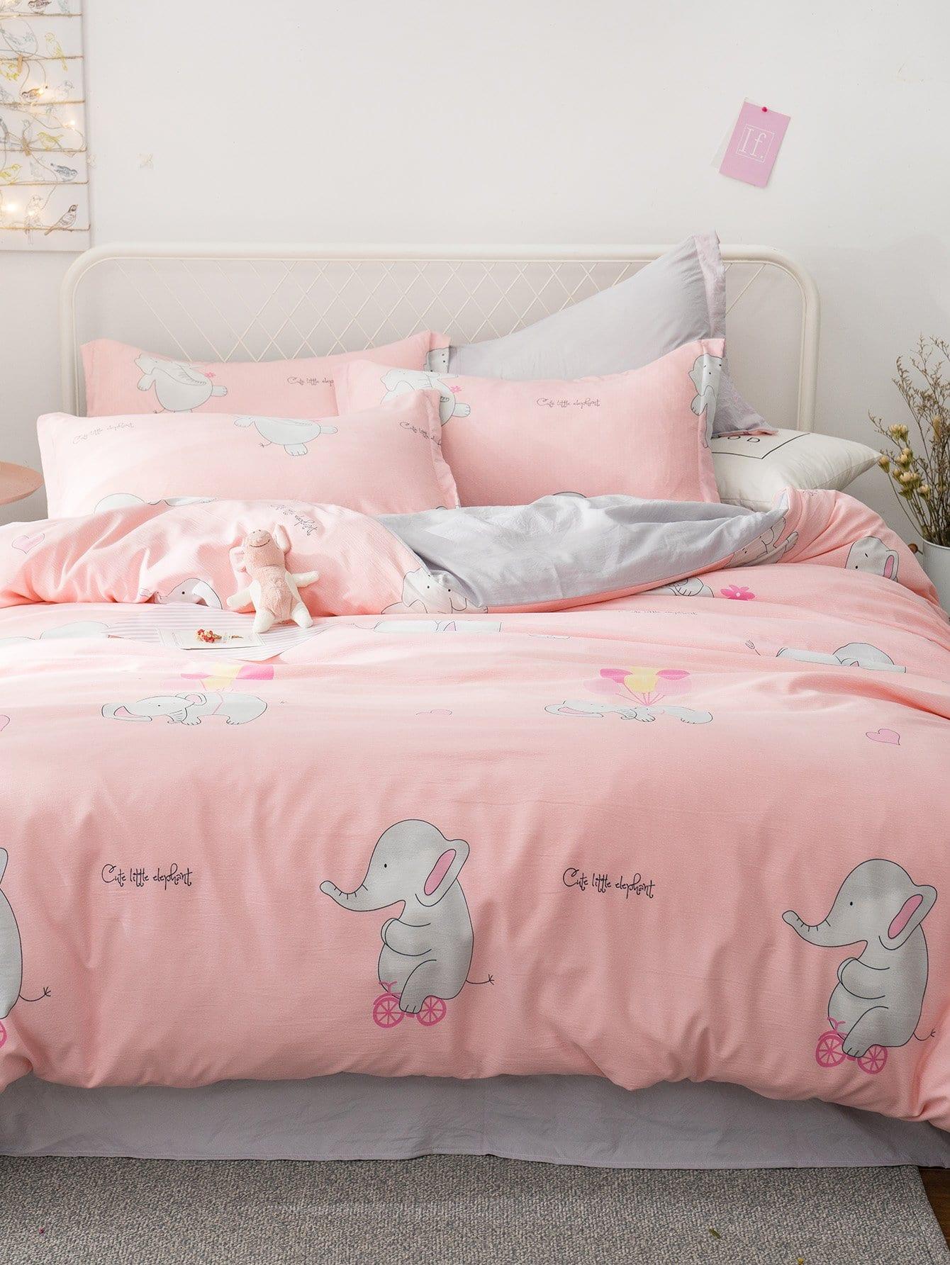 Мультяшный принт Комплект постельного белья Розовые Постельное белье