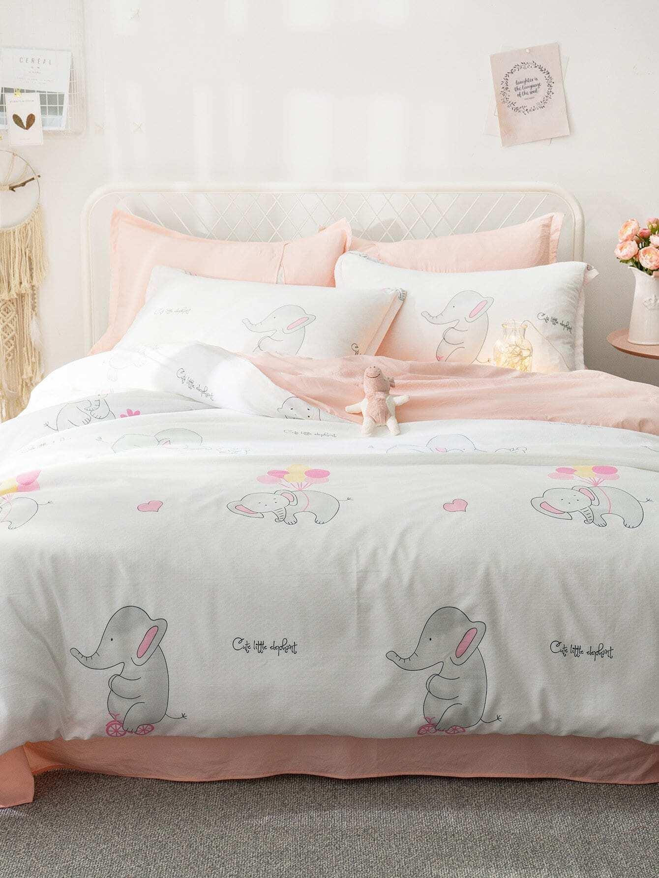 Мультяшный принт Комплект постельного белья Белые Постельное белье