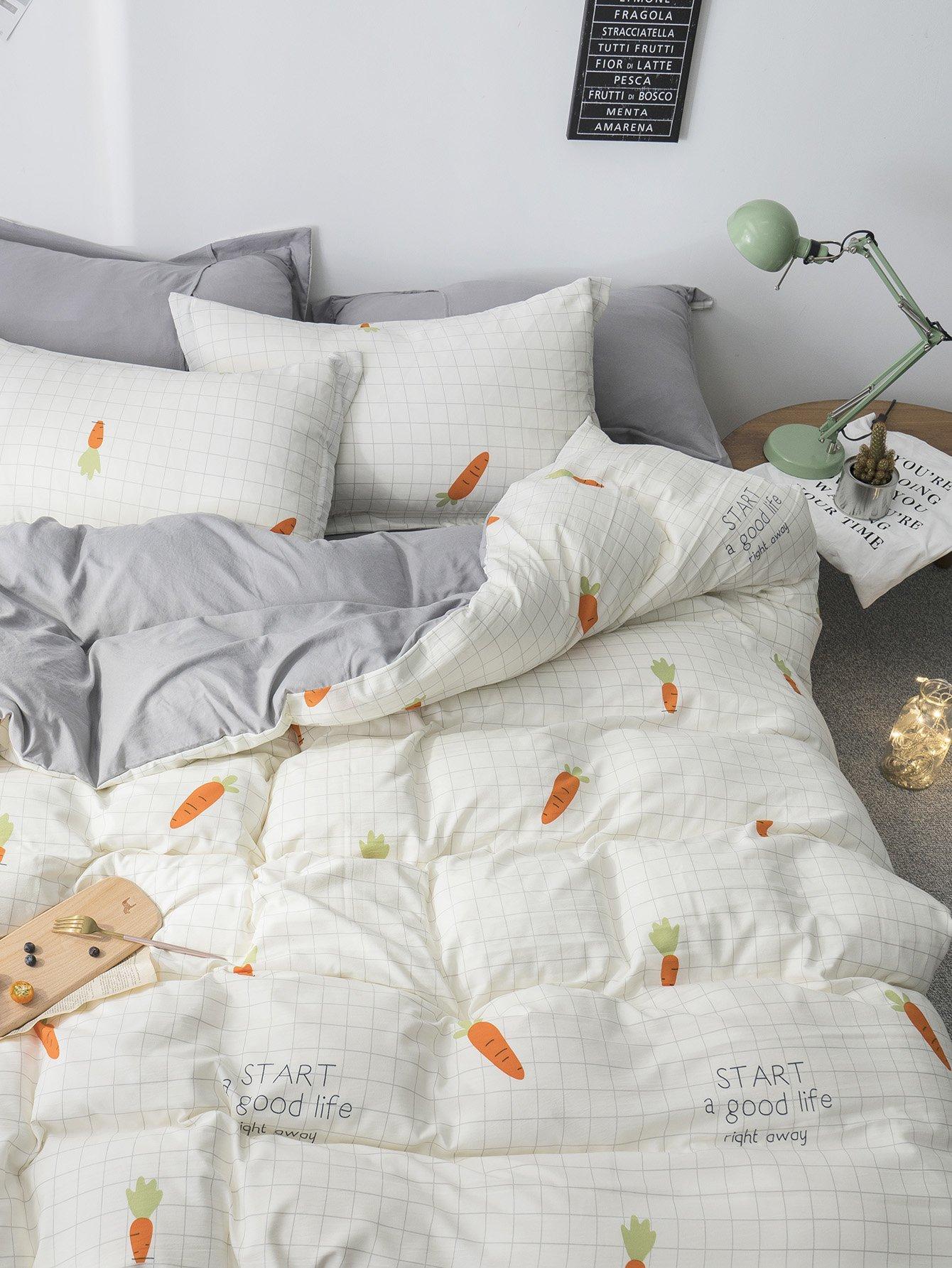 Carrot Print Plaid Sheet Set grid carrot pants