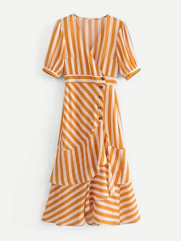 Contrast Striped Tiered Ruffle Dress все цены
