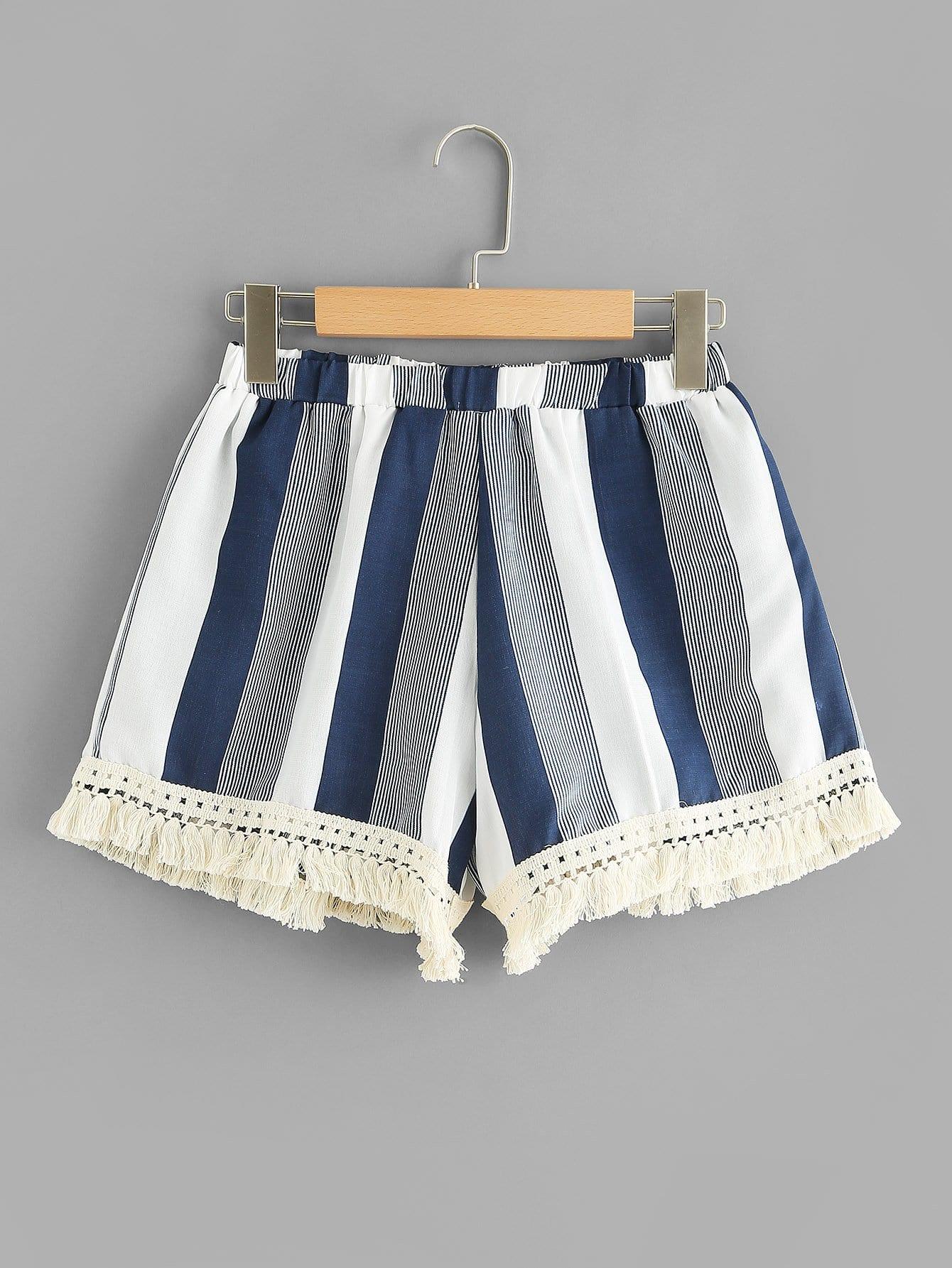Fringe Hem Striped Shorts