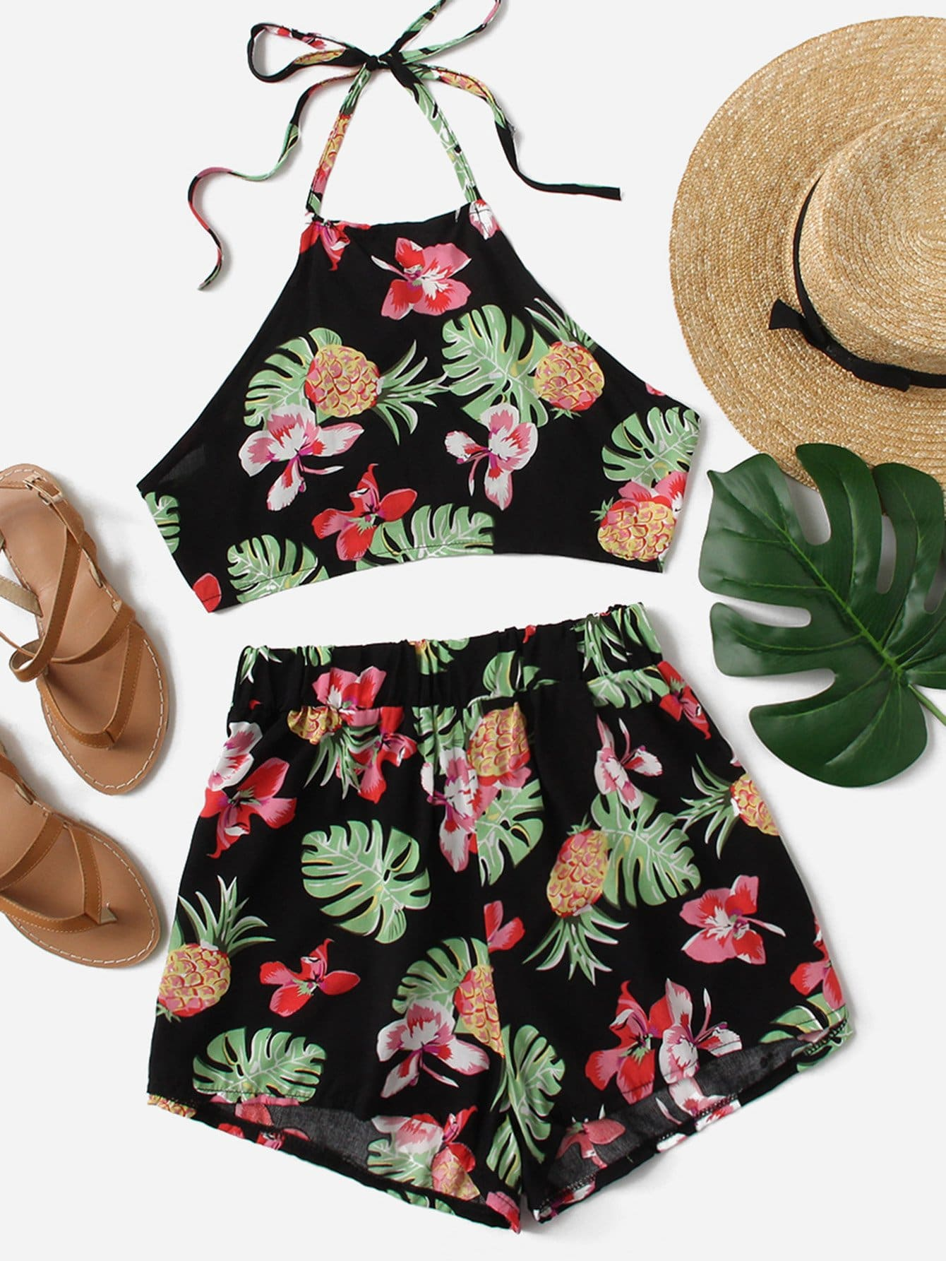Pineapple Print Halter Top With Shorts