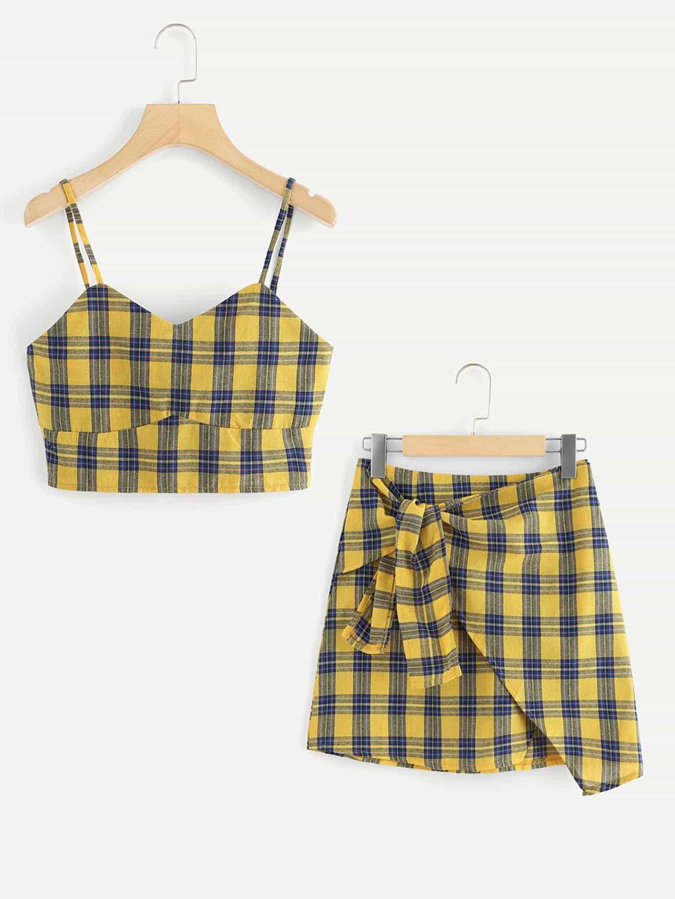 Checked Cami Top With Asymmetrical Hem Skirt asymmetrical hem top