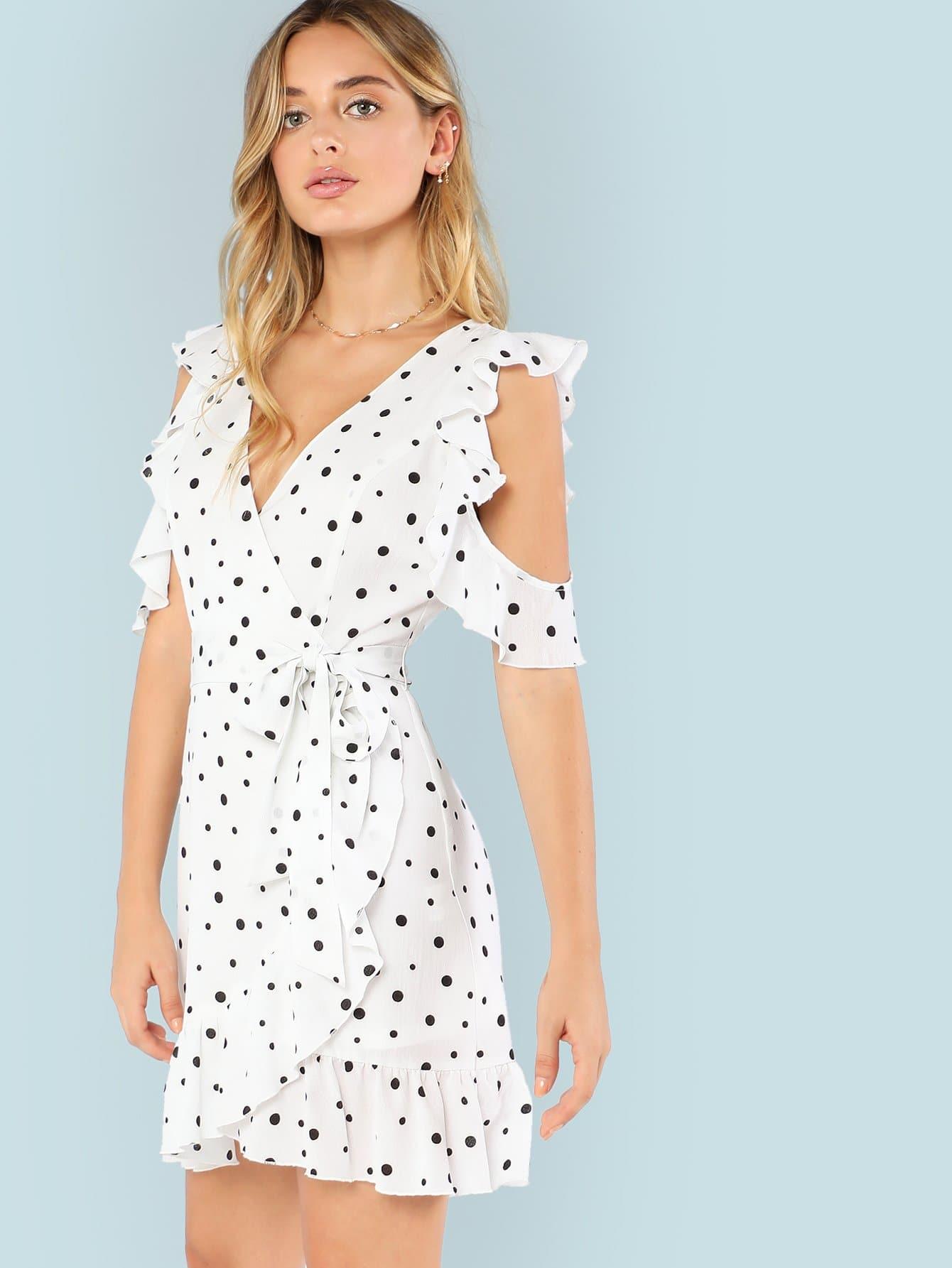 Open Shoulder Ruffle Embellished Overlap Dress one shoulder ruffle embellished dress