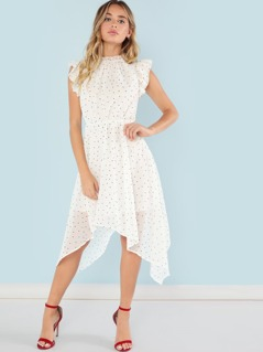 Layered Ruffle Armhole Polka Dot Dress