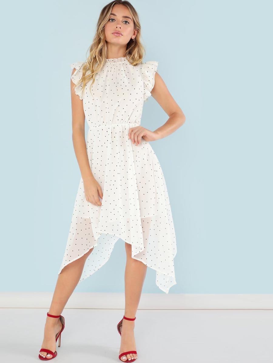 Layered Ruffle Armhole Polka Dot Dress by Shein