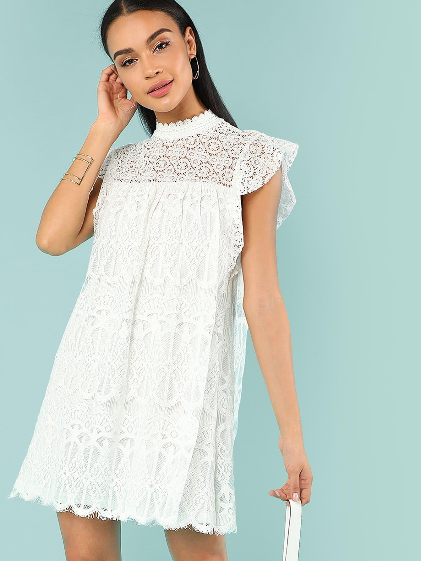 все цены на Lace Yoke Embroidered Mesh Dress