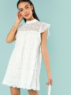 Lace Yoke Embroidered Mesh Dress