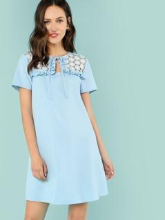 Tie Neck Frilled Lace Yoke Dress